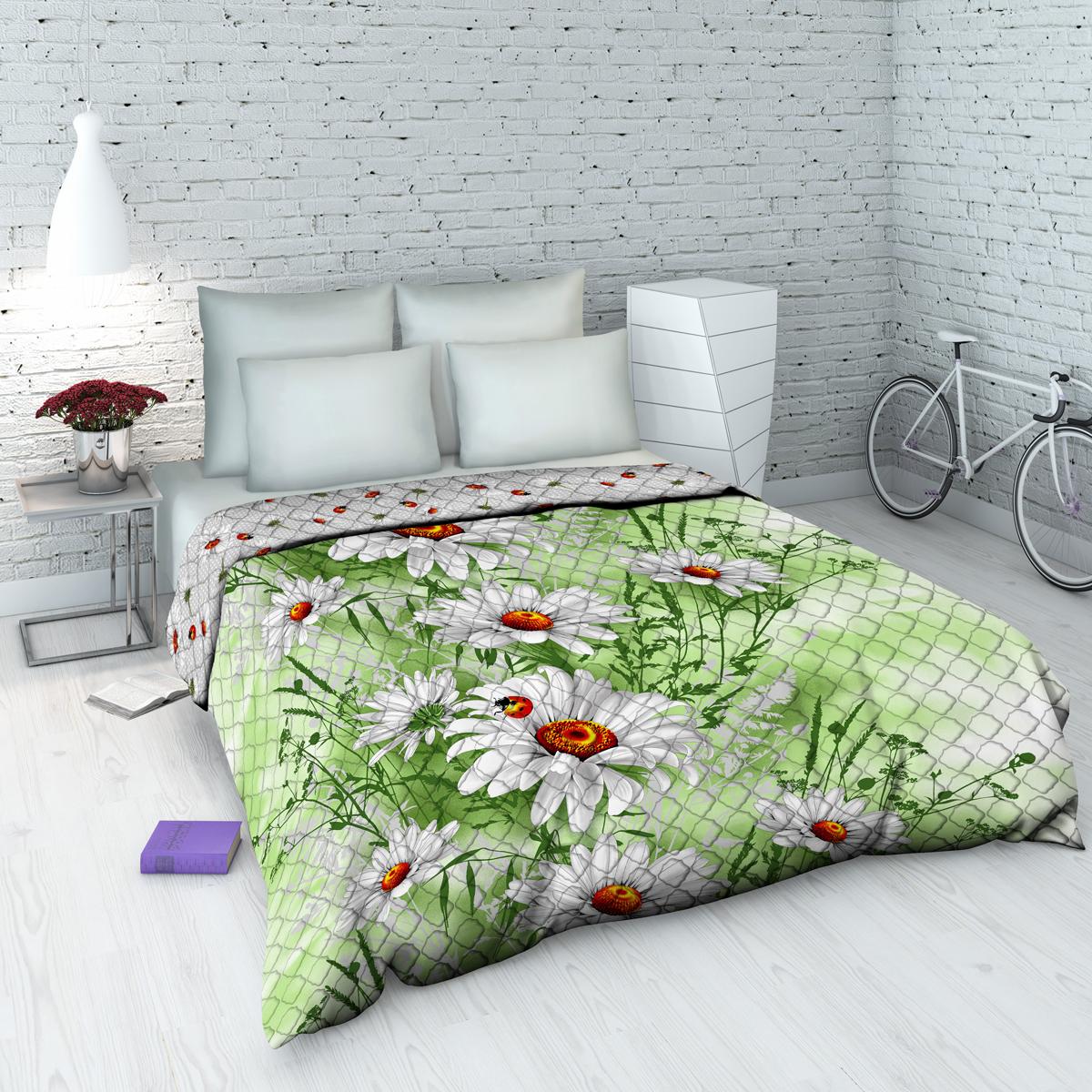 Покрывало Василиса На даче, 145 х 205 см, цвет: зеленый. 3753_пд3753_пдДекоративное стеганое покрывало из хлопка - привычный аксессуар для многих спален. Приятное на ощупь и красивое на вид. Может использоваться как покрывало в интерьере гостиных, детских, спален (особенно в загородных домах), так и в качестве облегченного одеяла в летний сезон. Чехол - бязь, 100% хлопок, наполнитель - силиконизированное волокно.