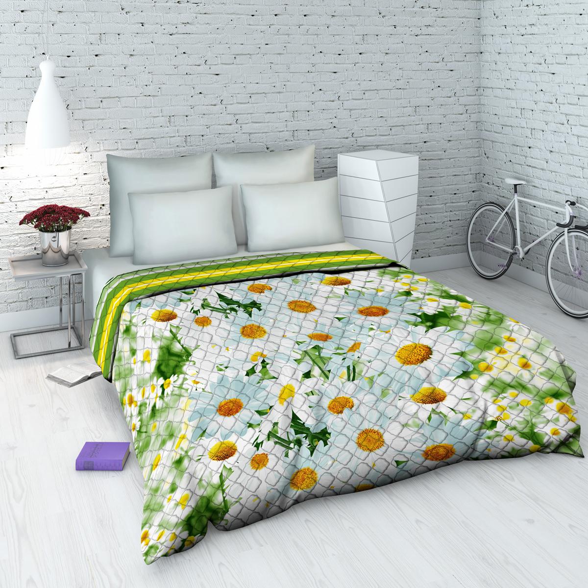 Покрывало Василиса На даче, 145 х 205 см, цвет: зеленый. 4323_пд1004900000360Декоративное стеганое покрывало из хлопка - привычный аксессуар для многих спален. Приятное на ощупь и красивое на вид. Может использоваться как покрывало в интерьере гостиных, детских, спален (особенно в загородных домах), так и в качестве облегченного одеяла в летний сезон. Чехол - бязь, 100% хлопок, наполнитель - силиконизированное волокно.