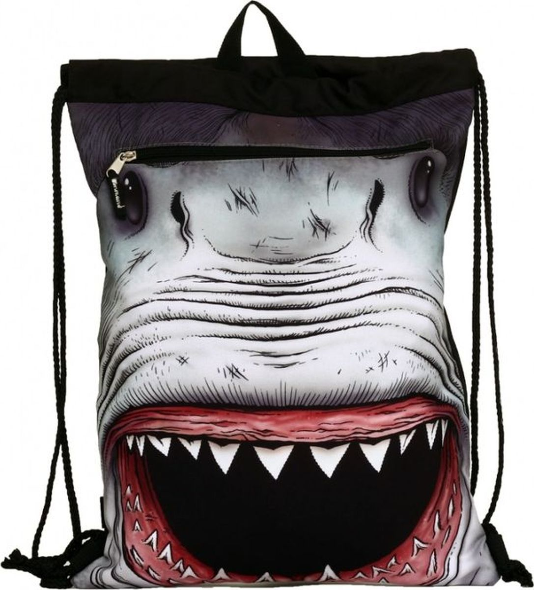 Mojo Сумка-рюкзак Shark Attack с капюшоном72523WDОригинальная сумка-рюкзак отлично подойдёт как для обуви, так и для различных вещей. Карман содержит в себе дополнительные элементы, соответствующий дизайну изделия. Закрывается рюкзак на кулиску, благодаря стягиванию лямок. Текстильная ручка позволяет не только переносить рюкзак за спиной, но и в руках.
