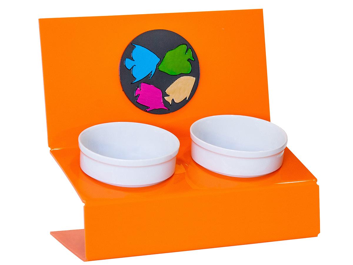 Миска для животных Artmiska  Инь и ян , двойная, на подставке, цвет: оранжевый, 2 х 350 мл - Аксессуары для кормления