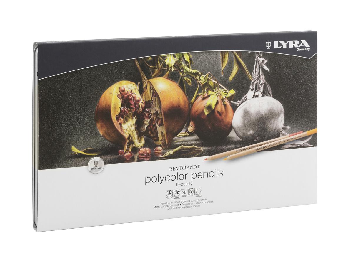 Lyra Набор художественных цветных карандашей Rembrandt Polycolor 36 штL2001360Цветные карандаши Lyra Rembrandt Polycolor напоминают в использовании мягкие пастельные мелки.Эти превосходные карандаши на масляной основе без использования воска прекрасно ложатся на бумагу. Цвета легко смешиваются и отлично накладываются, позволяя создать бесчисленное количество оттенков. Они также обладают высокой степенью светостойкости.Набор карандашей упакован в металлическую коробку. Карандаши в наборе заточены.