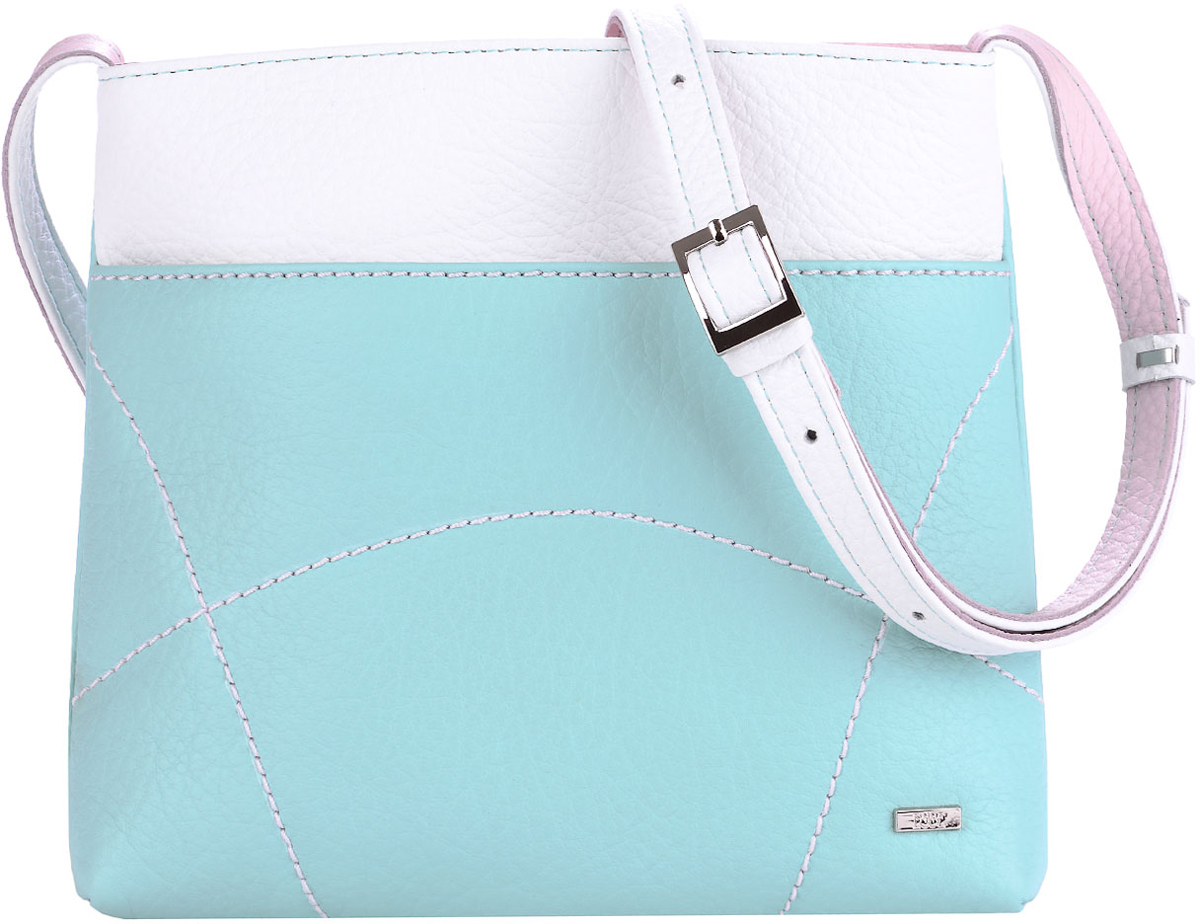 Сумка женская Esse Викки, цвет: мята, розовый, белый8-2Небольшая женская сумка Esse Викки изготовлена из натуральной кожи зернистой фактуры. Сумка оформлена декоративной отстрочкой и металлической пластиной логотипа бренда.Сумка состоит из одного отделения и закрывается на застежку-молнию. Отделение содержит накладной карман для телефона и мелочей, а также врезной карман на молнии. Лицевая сторона дополнена прорезным открытым карманом. На задней стенке врезной карман на молнии. Сумка оснащена несъемным плечевым ремнем, регулируемой длины.
