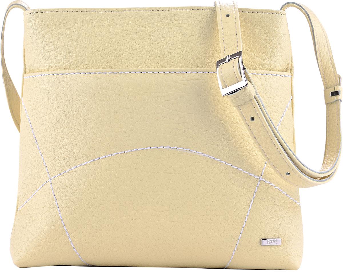 Сумка женская Esse Викки, цвет: желтый579995-400Небольшая женская сумка Esse Викки изготовлена из натуральной кожи зернистой фактуры. Сумка оформлена декоративной отстрочкой и металлической пластиной логотипа бренда.Сумка состоит из одного отделения и закрывается на застежку-молнию. Отделение содержит накладной карман для телефона и мелочей, а также врезной карман на молнии. Лицевая сторона дополнена прорезным открытым карманом. На задней стенке врезной карман на молнии. Сумка оснащена несъемным плечевым ремнем, регулируемой длины.