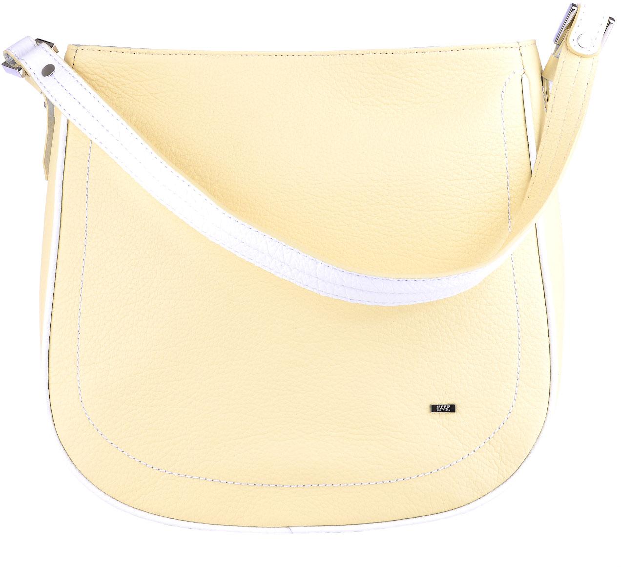 Сумка женская Esse Стефани, цвет: желтый, белый23008Женская сумка Esse изготовлена из натуральной кожи. Оригинальная женская сумка мягкой конструкции закрывается на молнию. Внутри одно отделение, боковой карман на молнии и открытый карман для телефона. На задней стенке снаружи карман на молнии. Сумка предназначена для ношения на плече, на локте или в руке.