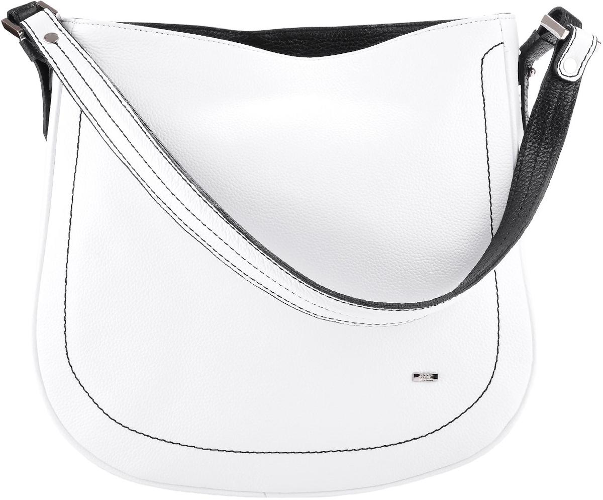 Сумка женская Esse Стефани, цвет: белый, черныйBM8434-58AEЖенская сумка Esse изготовлена из натуральной кожи. Оригинальная женская сумка мягкой конструкции закрывается на молнию. Внутри одно отделение, боковой карман на молнии и открытый карман для телефона. На задней стенке снаружи карман на молнии. Сумка предназначена для ношения на плече, на локте или в руке.