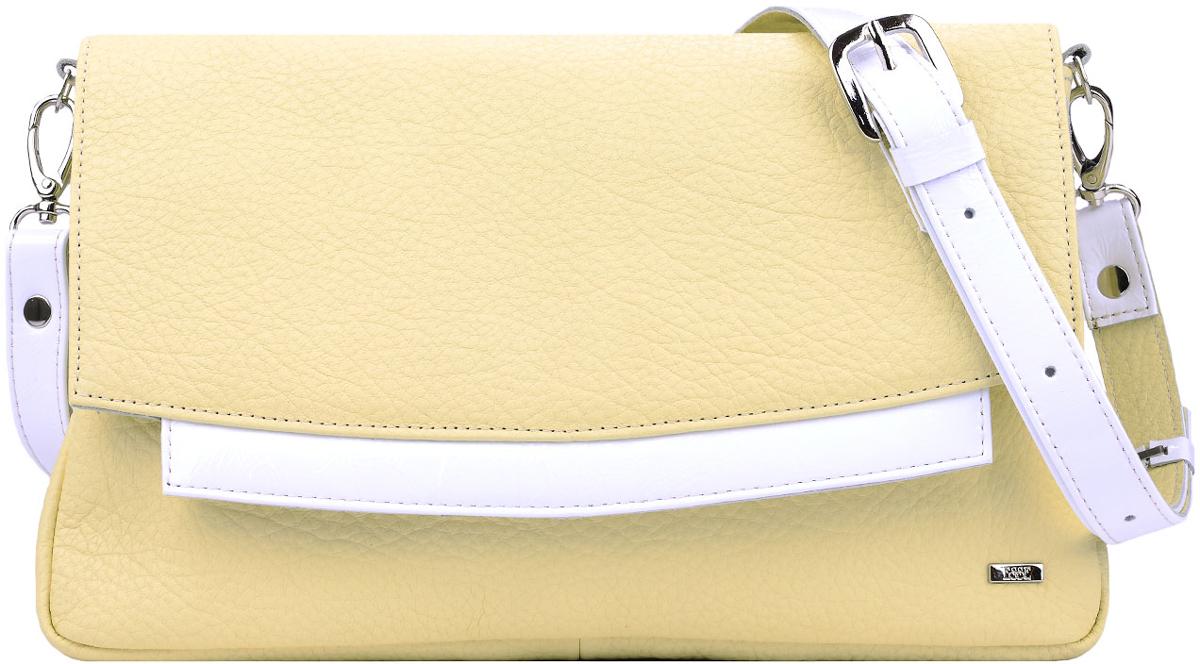 Сумка женская Esse Шерон, цвет: желтый, белыйBM8434-58AEИзящная женская сумка Esse Шерон изготовлена из натуральной кожи. Сумка состоит из двух отделений, внутри - открытый карман для мелочей и карман на молнии. На задней стенке расположен врезной карман на молнии. Застегивается сумка на молнию и клапан с потайным магнитом. Сумка укомплектована ремнем для ношения через плечо. Длина ремня регулируется.