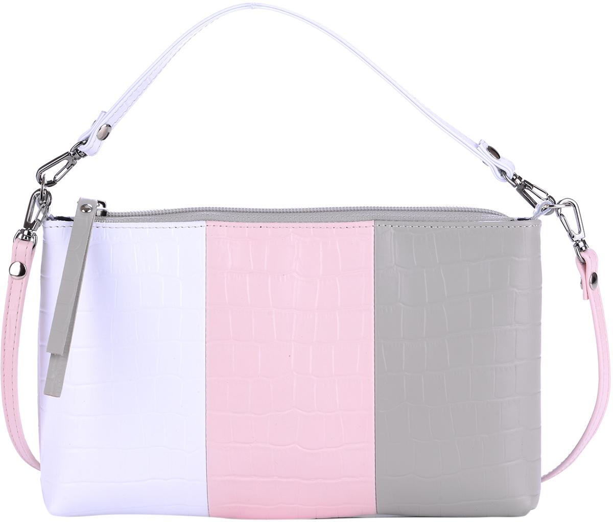 Сумка женская Esse Регина, цвет: розовый, белый, серый579995-400Элегантная женская сумка Esse Регина изготовлена из натуральной кожи и застёгивается на застёжку-молнию. Сумка состоит из одного отделения и содержит врезной карман на молнии. На задней стенке предусмотрен врезной карман на молнии. Сумка оснащена съёмной тонкой ручкой для переноски в руке и плечевым ремнем.