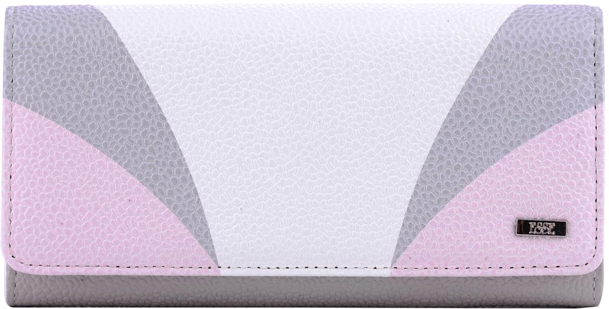 Кошелек женский Esse Радо, цвет: серый, розовый, белый. GRDO00-00MG00-FJ412O-K100490300нБольшой вместительный кошелёк - купюрник. Имеет 3 широких отделения для купюр и 4 дополнительных открытых кармана, 6 прорезных карманов для кредитных карт (одно в виде кармашка с пластиковым окном). На задней стенке отделение для мелочи, закрывающееся на молнию. Закрывается на кнопку.