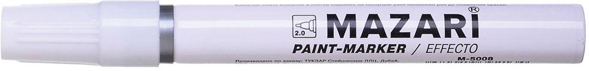 Mazari Маркер-краска Effecto цвет серебристый72523WDПерманентный маркер по металлу и любым другим поверхностям (стекло, пластик, дерево) на масляной основе. Имеет долговечный износоустойчивый амортизированный наконечник. Насыщенный цвет сплошной линии, оставляемый маркером, не зависит от цвета поверхности. Толщина линии - 2,0 мм.