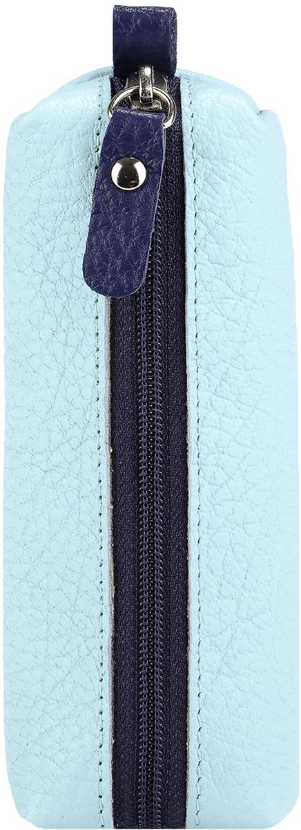 Ключница женская Esse Нина, цвет: мята, синий. GNIN00-00ML00-FJ638O-K100Брелок для сумкиКомпактная ключница популярной формы. Выполнено из натуральной кожи и тканевой подкладки. Внутри полукольцо на хлястике для крепления связки ключей. Закрывается на молнию