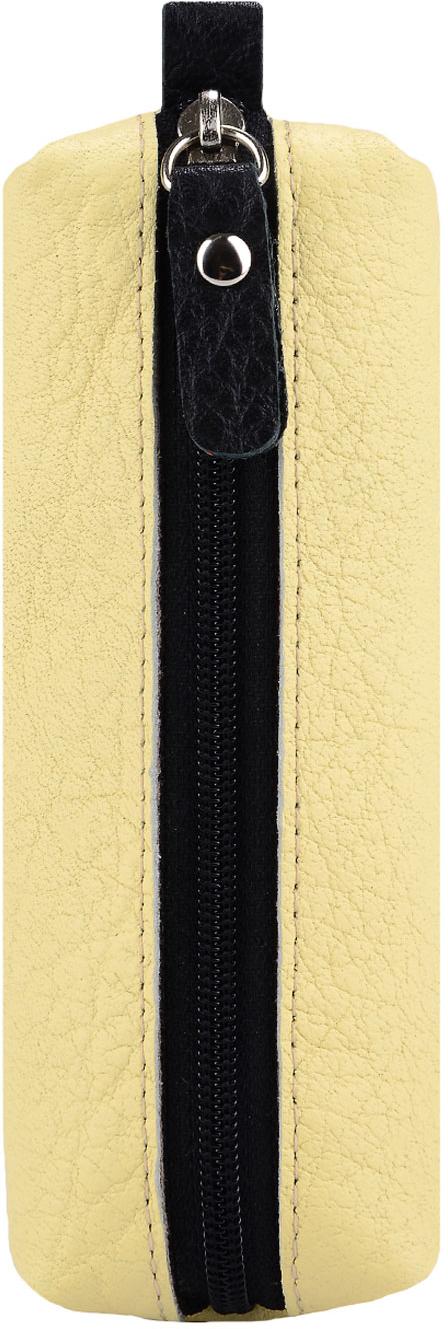 Ключница женская Esse Нина, цвет: желтый, черный. GNIN00-00ML00-FJ518O-K10039864|Серьги с подвескамиКомпактная ключница популярной формы. Выполнено из натуральной кожи и тканевой подкладки. Внутри полукольцо на хлястике для крепления связки ключей. Закрывается на молнию