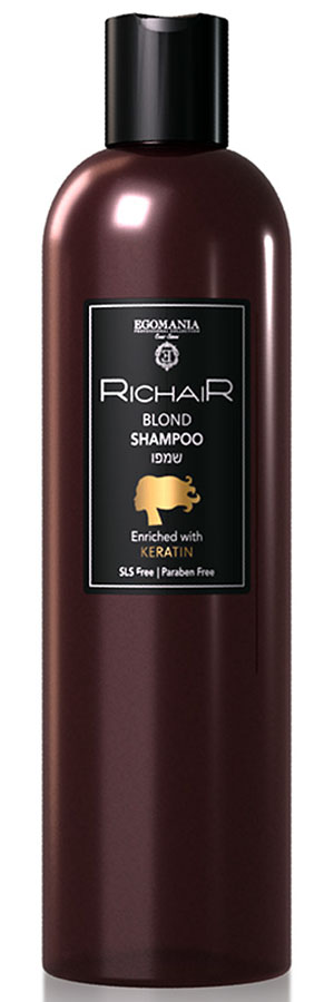 Egomania Professional Collection Шампунь Richair для осветленных и обесцвеченных волос c кератином, 400 млMP59.4DШампунь предназначен для деликатного очищения осветленных, обесцвеченных и мелированных волос. Мягко и бережно очищает, не повреждая пористые участки волос и не раздражая чувствительную кожу головы. Благодаря пантенолу восстанавливает гидро-липидный баланс сухих осветленных волос; способствует быстрому восстановлению кожи после агрессивных процедур осветления и обесцвечивания. Натуральный гидролизованный кератин укрепляет волосы, протеины шелка придают гладкость и блеск. Витамин Е защищает цвет осветленных волос от выгорания на солнце и от разрушения под воздействием негативных внешних факторов.