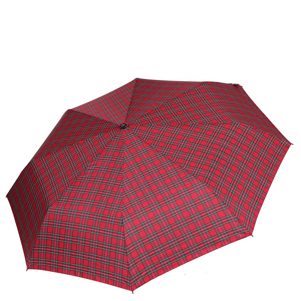 Зонт женский Fabretti, цвет: красный. FCH-7Колье (короткие одноярусные бусы)Элегантный женский зонт Fabretti с принтом в клетку не даст вам промокнуть.Купол зонта выполнен из материала эпонж (100% полиэстер), который обладает высокой прочностью и износостойкостью. Вода на куполе из такого материала скатывается каплями вниз, а не впитывается, на нем практически не видны следы изгибов. Прочный каркас выполнен из металла. Зонт дополнен эргономичной пластиковой ручкой с противоскользящей обработкой. Ручка оснащена петлей, благодаря которой зонт можно носить на запястье.Изделие имеет автоматический механизм сложения: купол открывается и закрывается нажатием кнопки на ручке, благодаря чему открыть и закрыть зонт можно одной рукой. Стержень складывается вручную до характерного щелчка.В сложенном виде зонт фиксируется с помощью хлястика с кнопкой. К зонту прилагается чехол.Стильный и практичный аксессуар даже в ненастную погоду позволит вам оставаться неотразимой.