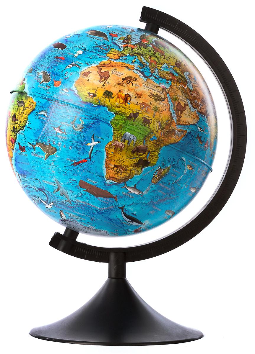 Globen Глобус Земли зоогеографический детский диаметр 21 см цвет подставки черныйFS-00897Зоогеографический глобус Земли Globen выполнен в высоком качестве, с четким и ярким изображением. Он дает представление о животных, обитающих в разных уголках планеты. На нем отображены названия материков, океанов и морей, крупных географических объектов, животные и некоторые виды растений, характерные для определенной местности.Глобус легко вращается вокруг своей оси, снабжен пластиковым меридианом с градусными отметками. Подставка изготовлена из пластика.Надписи на глобусе сделаны на русском языке. В комплект входит: глобус, подставка.