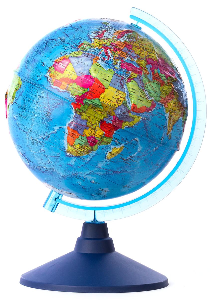 Globen Глобус Земли политический рельефный диаметр 21 смКе012500191Глобус Земли Globen с политической картой мира выполнен в высоком качестве, с четким и ярким изображением. Он даст представление о политическом устройстве мира. На нем отображены линии картографической сетки, показаны границы государств и демаркационные линии, столицы и крупные населенные пункты, линия перемены дат. Рельеф на глобусе демонстрирует наличие гор и возвышенностей. Глобус легко вращается вокруг своей оси, снабжен пластиковым меридианом с градусными отметками. Подставка изготовлена из пластика.Надписи на глобусе сделаны на русском языке. В комплект входит: глобус, подставка.