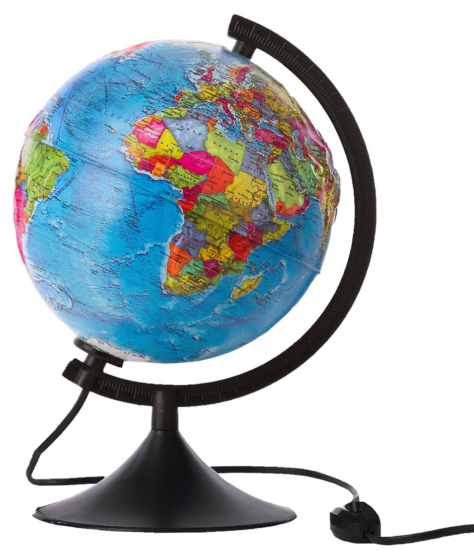 Globen Глобус Земли политический рельефный с подсветкой диаметр 21 смКе012500186Глобус Земли Globen с политической картой мира выполнен в высоком качестве, с четким и ярким изображением. Он даст представление о политическом устройстве мира. На нем отображены линии картографической сетки, показаны границы государств и демаркационные линии, столицы и крупные населенные пункты, линия перемены дат. Рельеф на глобусе демонстрирует наличие гор и возвышенностей. Глобус легко вращается вокруг своей оси, снабжен пластиковым меридианом с градусными отметками. Подставка изготовлена из пластика. Глобус имеет функцию подсветки от электрической сети. На кабеле питания имеется переключатель.Надписи на глобусе сделаны на русском языке. В комплект входит: глобус, подставка.