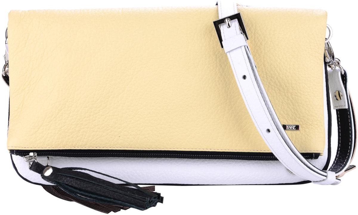 Сумка женская Esse Лика, цвет: желтый, белый, черныйBM8434-58AEСтильная женская сумка Esse Лика изготовлена из натуральной кожи с фактурным тиснением. Изделие имеет одно основное отделение, которое закрывается на застежку-молнию. Сумка складывается и фиксируется на магниты. Внутри сумки расположен накладной открытый карман. Снаружи, на передней стенке расположен накладной карман, на задней стенке - прорезной карман на застежке-молнии.Сумка оснащена съемным регулируемым плечевым ремнем.