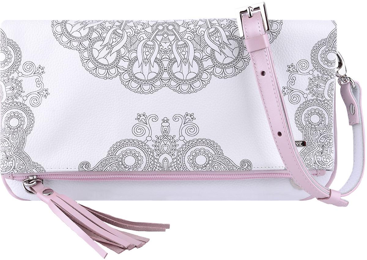 Сумка женская Esse Лика, цвет: белый, розовыйL39845800Стильная женская сумка Esse Лика изготовлена из натуральной кожи с фактурным тиснением. Изделие имеет одно основное отделение, которое закрывается на застежку-молнию. Сумка складывается и фиксируется на магниты. Внутри сумки расположен накладной открытый карман. Снаружи, на передней стенке расположен накладной карман, на задней стенке - прорезной карман на застежке-молнии.Сумка оснащена съемным регулируемым плечевым ремнем.