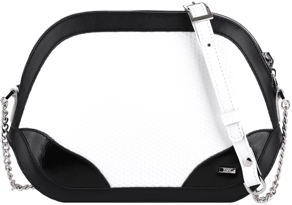 Сумка женская Esse Лея, цвет: белый, черныйBM8434-58AEНебольшая женская сумка жесткой конструкции Esse Лея изготовлена из натуральной кожи зернистой фактуры, оформлена металлической пластиной логотипа бренда и контрастными глянцевыми вставками.Сумка состоит из одного отделения и закрывается на застежку-молнию. Внутри сумка содержит врезной карман на молнии и накладной карман для мелочей и телефона. На задней стенке предусмотрен врезной карман на молнии. Сумка оснащена несъёмным плечевым ремнем, выполненным в виде декоративной металлической цепочки.