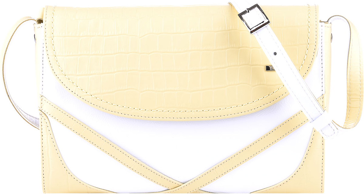 Сумка женская Esse Кимберли, цвет: желтый, белыйBM8434-58AEНебольшая женская сумка жесткой конструкции Esse Кимберли изготовлена из натуральной кожи и оформлена металлической пластинкой логотипа бренда.Сумка состоит из одного отделения и закрывается намолнию и клапан на магнитной кнопке. Внутри имеется одно отделение, открытый карман для телефона и карман на молнии для документов. На задней стенке сумки расположен карман на молнии. Длина съемного наплечного ремня регулируется.