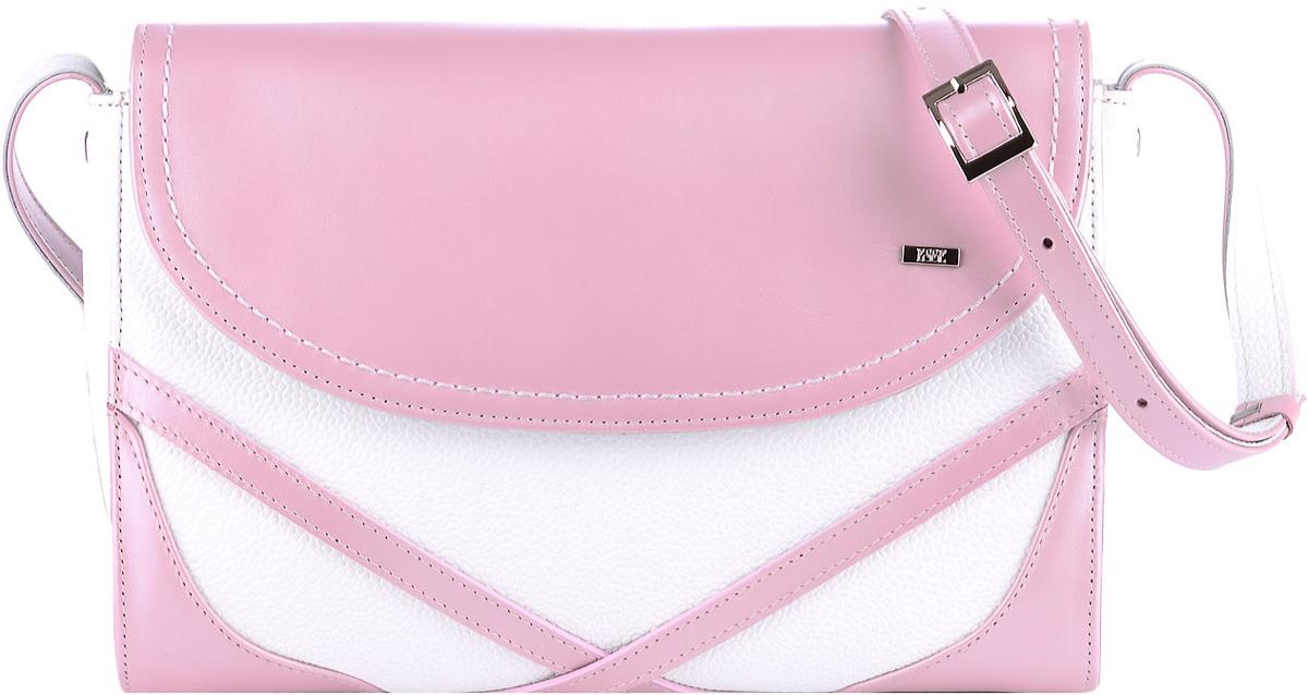 Сумка женская Esse Кимберли, цвет: розовый, белый101225Небольшая женская сумка жесткой конструкции Esse Кимберли изготовлена из натуральной кожи и оформлена металлической пластинкой логотипа бренда.Сумка состоит из одного отделения и закрывается намолнию и клапан на магнитной кнопке. Внутри имеется одно отделение, открытый карман для телефона и карман на молнии для документов. На задней стенке сумки расположен карман на молнии. Длина съемного наплечного ремня регулируется.