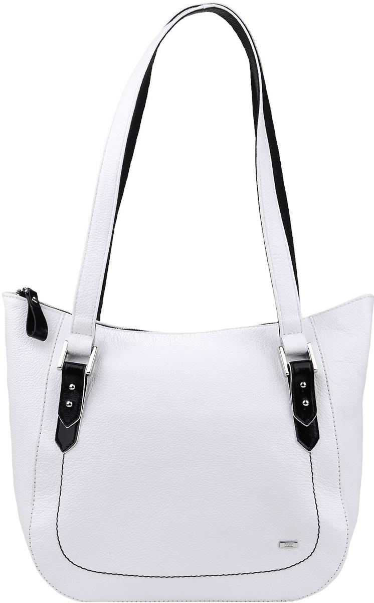 Сумка женская Esse Дженет, цвет: белый, черныйBM8434-58AEВместительная женская сумка Esse Дженет изготовлена из натуральной кожи зернистой фактуры и оформлена металлическим значком логотипа бренда. Модель создана для женщин, ценящих оригинальный дизайн в сочетании с функциональностью и комфортом. Сумка состоит из одного отделения и закрывается на застежку-молнию. Отделение разделено карманом-средником на молнии. Внутри нашивной карман для телефона и мелочей, а также врезной карман на молнии. На задней стенке врезной карман на молнии. Сумка оснащена двумя удобными ручками, высота которых позволяет носить сумку как в руке, так и на запястье. Ручки дополнены металлическими элементами, с помощью которых можно регулировать их высоту.