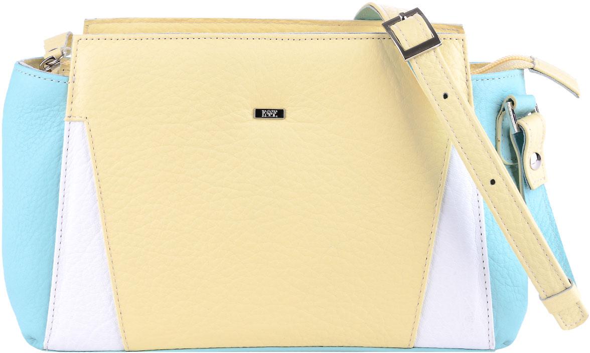 Сумка женская Esse Дженни, цвет: желтый, белый, мятныйBM8434-58AEНебольшая женская сумка Esse Дженни изготовлена из качественной натуральной кожи.Сумка состоит из одного отделения и закрывается на застежку-молнию. Внутри имеются дополнительные кармашки. На задней стенке расположен врезной карман на молнии. Сумка оснащена плечевым ремнем регулируемой длины.