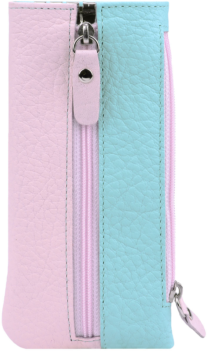Ключница женская Esse Грета, цвет: мята, розовый. GGRT00-00ML00-FJ638O-K102Ажурная брошьФункциональная ключница, закрывающаяся на молнию. Имеет 6 крючков-карабинов для крепления ключей. Сбоку дополнительный карман на молнии