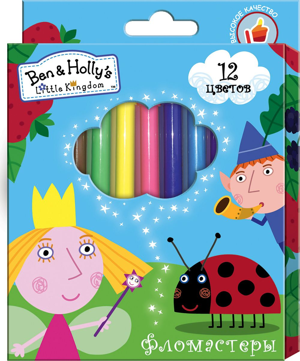 Ben&Holly Набор фломастеров Бен и Холли 12 цветов72523WDФломастеры ТМ Бен и Холли, идеально подходящие для рисования и раскрашивания, помогут вашему ребенку создавать яркие картинки, а упаковка с любимыми героями будет долгое время радовать юного художника. В набор входит 12 разноцветных фломастеров с вентилируемыми колпачками, безопасными для детей.Диаметр корпуса: 0,8 см; длина: 13,5 см.Фломастеры изготовлены из материала, обеспечивающего прочность корпуса и препятствующего испарению чернил, благодаря этому они имеют гарантированно долгий срок службы: корпус не ломается, даже если согнуть фломастер пополам.Состав: ПВХ, пластик, чернила на водной основе.