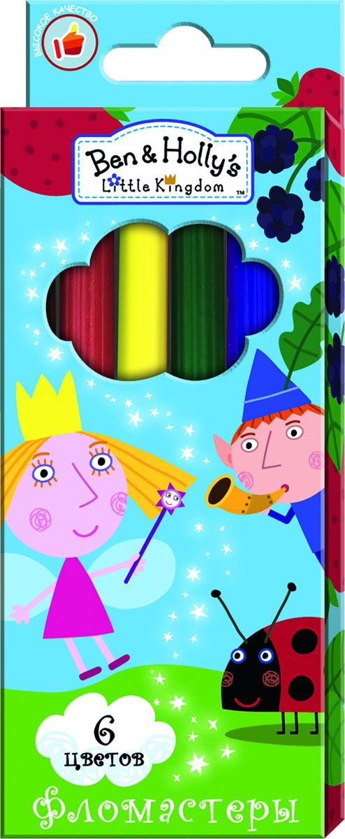 Ben&Holly Набор фломастеров Бен и Холли 6 цветовFS-36052Фломастеры ТМ Бен и Холли, идеально подходящие для рисования и раскрашивания, помогут вашему ребенку создавать яркие картинки, а упаковка с любимыми героями будет долгое время радовать юного художника. В набор входит 6 разноцветных фломастеров с вентилируемыми колпачками, безопасными для детей.Диаметр корпуса: 0,8 см; длина: 13,5 см.Фломастеры изготовлены из материала, обеспечивающего прочность корпуса и препятствующего испарению чернил, благодаря этому они имеют гарантированно долгий срок службы: корпус не ломается, даже если согнуть фломастер пополам.Состав: ПВХ, пластик, чернила на водной основе.
