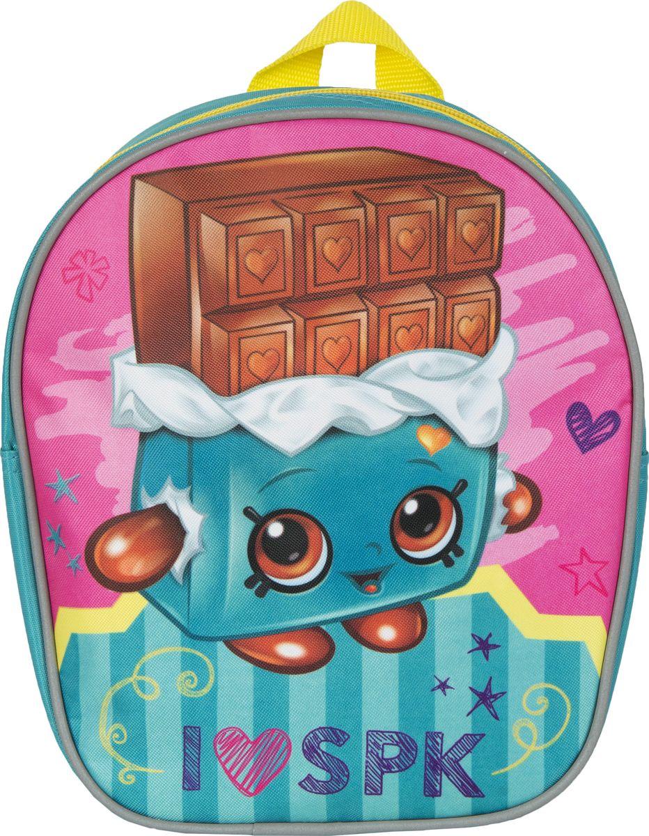 Shopkins Рюкзак дошкольный Шопкинс цвет бирюзовый31788Очаровательный дошкольный рюкзачок Шопкинс - это невероятно привлекательный аксессуар для вашего ребенка. В его внутреннем отделении на молнии легко поместятся не только игрушки, но даже тетрадка или книжка формата А5. Благодаря регулируемым лямкам, рюкзачок подходит детям любого роста. Удобная ручка помогает носить аксессуар в руке или размещать на вешалке. Износостойкий материал с водонепроницаемой основой и подкладка обеспечивают изделию длительный срок службы и помогают держать вещи сухими в дождливую погоду. Аксессуар декорирован ярким принтом (сублимированной печатью), устойчивым к истиранию и выгоранию на солнце.Порадуйте свою малышку таким замечательным подарком!