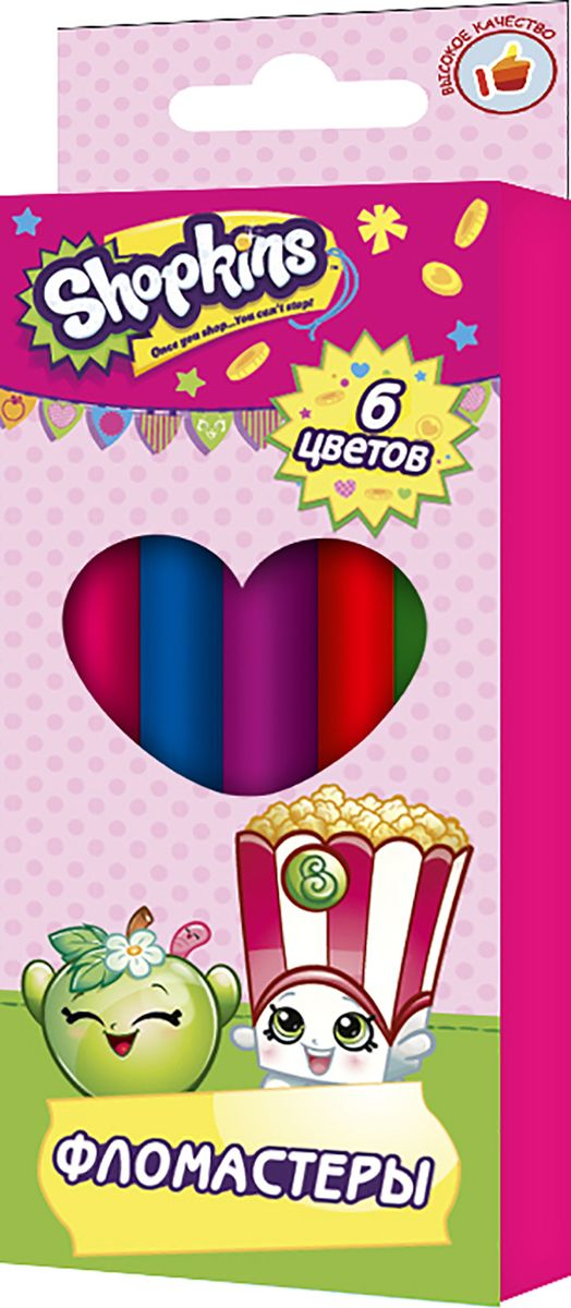 Shopkins Набор фломастеров Шопкинс 6 цветов31803Фломастеры ТМ Шопкинс, идеально подходящие для рисования и раскрашивания, помогут вашему ребенку создавать яркие картинки, а упаковка с любимыми героями будет долгое время радовать юную художницу. В набор входит 6 разноцветных фломастеров с вентилируемыми колпачками, безопасными для детей. Диаметр корпуса: 0,8 см; длина: 13,5 см. Фломастеры изготовлены из материала, обеспечивающего прочность корпуса и препятствующего испарению чернил, благодаря этому они имеют гарантированно долгий срок службы: корпус не ломается, даже если согнуть фломастер пополам. Состав: ПВХ, пластик, чернила на водной основе.