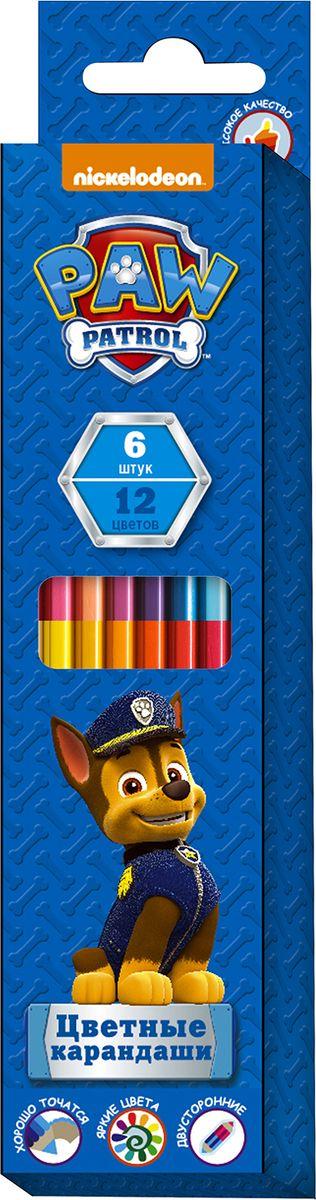 Paw Patrol Набор цветных карандашей Щенячий патруль двухсторонние 12 цветов 6 шт1174240Яркие карандаши ТМ Щенячий патруль идеально подходят для рисования, письма и раскрашивания. Они помогут вашему юному художнику создавать красивые картинки, а любимые герои вдохновят его на новые интересные идеи. В набор входит 6 цветных двухсторонних карандашей, позволяющих рисовать 12-ю цветами: на одном карандаше располагаются 2 цвета с разных сторон. Яркие линии получаются без сильного нажима. Благодаря высококачественной древесине, карандаши легко затачиваются. Прочный грифель не крошится при падении и не ломается при заточке.Состав: древесина, цветной грифель.Длина карандаша: 17,5 см: толщина грифеля: 0,3 см.
