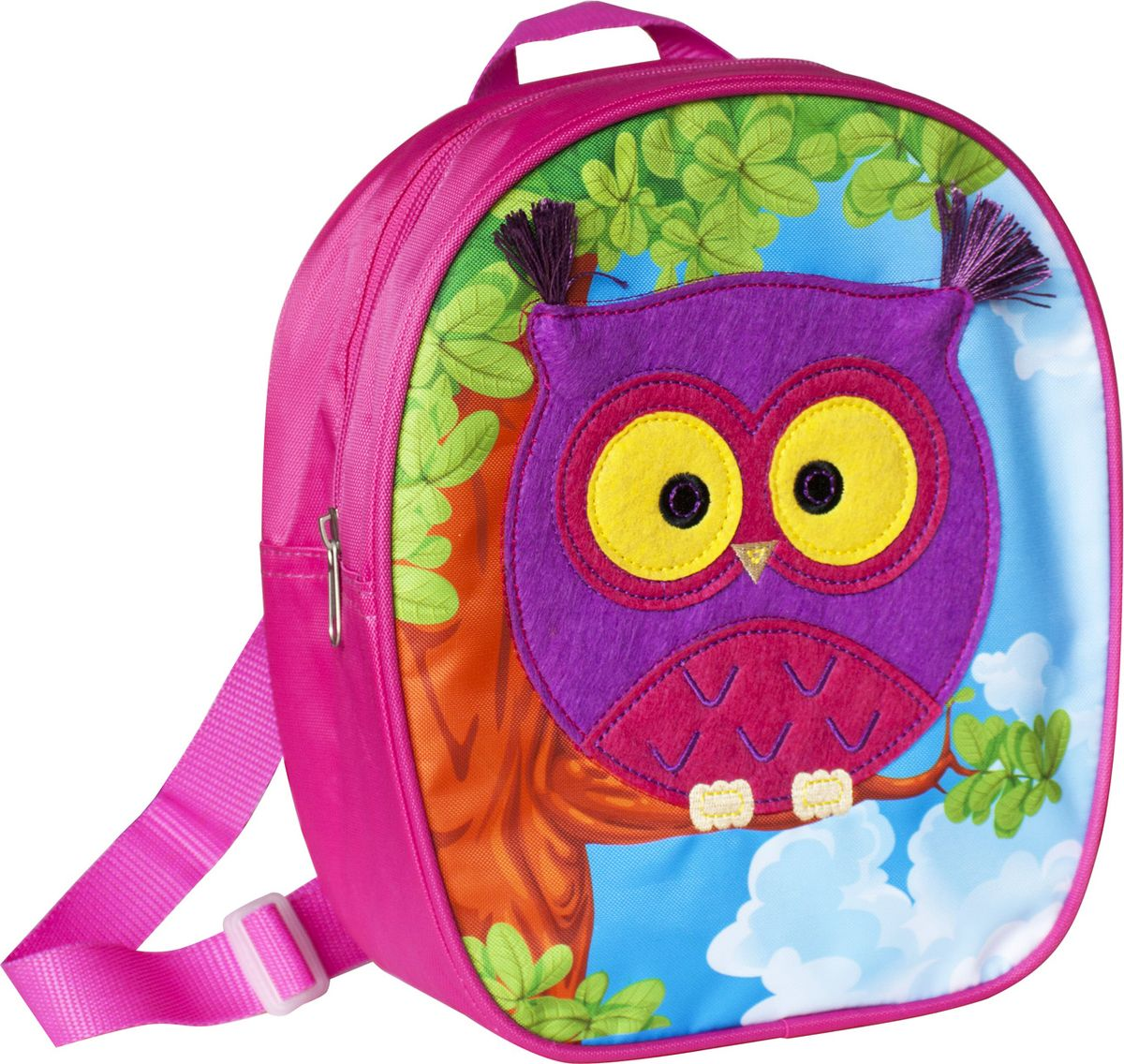 Росмэн Рюкзак дошкольный Сова32013Симпатичный дошкольный рюкзачок Сова - это удобный, легкий и компактный аксессуар для вашего малыша, который обязательно пригодится для прогулок и детского сада.В его внутреннее отделение на застежке-молнии можно положить игрушки, предметы для творчества или книжку формата А5.Благодаря регулируемым лямкам, рюкзачок подходит детям любого роста. Удобная ручка помогает носить аксессуар в руке или размещать на вешалке.Износостойкий материал с водонепроницаемой основой и подкладка обеспечивают изделию длительный срок службы и помогают держать вещи сухими в сырую погоду. Аксессуар декорирован ярким принтом (сублимированной печатью), устойчивым к истиранию и выгоранию на солнце, аппликацией из фетра, вышивкой.