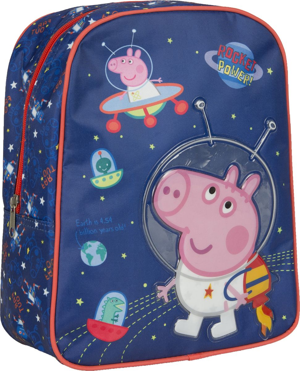 Peppa Pig Рюкзак дошкольный Свинка Пеппа цвет синий оранжевый 3204272523WDОчаровательный дошкольный рюкзачок Свинка Пеппа - это невероятно привлекательный аксессуар для вашего ребенка.Рюкзачок Свинка Пеппа имеет стильный дизайн, компактный размер и легкий вес, а в его вместительном внутреннем отделении на молнии легко поместятся все необходимые вещи, в том числе предметы формата А4. Поэтому он оптимально подойдет вашему ребенку для прогулок, занятий в кружке или спортивной секции. Мягкие регулируемые лямки шириной 6 см берегут плечи от натирания, а светоотражающие элементы, размещенные на них, повышают безопасность ребенка, делая его заметнее на дороге в темное время суток. Удобная ручка помогает носить аксессуар в руке или размещать на вешалке. Износостойкий материал с водонепроницаемой основой и подкладка обеспечивают изделию длительный срок службы и помогают держать вещи сухими в дождливую погоду. Рюкзачок декорирован объемной, блестящей аппликацией PVC и ярким принтом (сублимированной печатью), устойчивым к истиранию и выгоранию на солнце.Порадуйте свою малышку таким замечательным подарком!