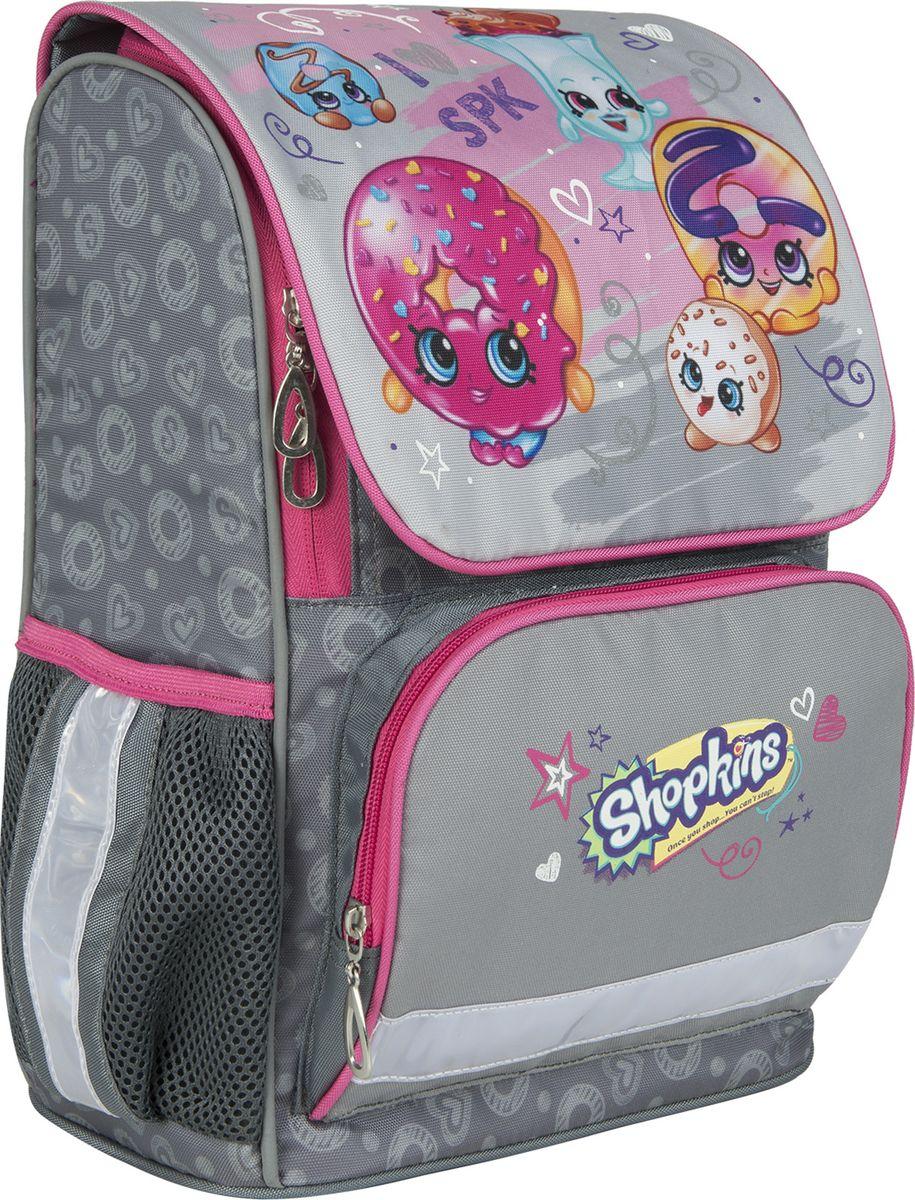 Shopkins Рюкзак Шопкинс цвет серый розовый 3242272523WDЭргономичный рюкзак с твердым корпусом Шопкинс имеет компактный размер, вмещающий формат А4, и легкий вес. Основное отделение содержит карман для тетрадей и ключницу, закрывается молнией и клапаном на липучках: так создается двойная защита вещей от намокания и повреждения. Спереди - карман на молнии, вмещающий пенал, а по бокам - 2 сетчатых кармана на резинках высотой 14 см.Эргономическая спинка из дышащего плотного и мягкого поролона равномерно распределяет нагрузку на позвоночник. Мягкие анатомические регулируемые лямки оберегают плечи от натирания.Светоотражающие элементы на лямках, лицевом и боковых карманах делают ребенка заметнее на дороге в темное время суток, повышая его безопасность. Прорезиненная ручка удобна для переноски в руке и подвеса. Водонепроницаемый, износостойкий материал обеспечивает изделию долгий срок службы и защищает вещи от намокания. Аксессуар декорирован ярким и стойким принтом (сублимированной печатью, шелкографией).Порадуйте свою малышку таким замечательным подарком!