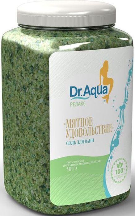 Dr. Aqua Соль морская ароматная Мятное удовольствие, с экстрактом мяты, 750 г35Соли для ванн серии Аква-Релакс - SPA процедуры у Вас дома!Морская соль с добавлением натурального экстракта ромашки: обеспечивает идеальный уход за вашей кожей: Питает, Защищает, Осветляет; - обладает Успокаивающим действием.Морская соль Верхнекамского месторождения идеально подходит для проведения SPA - процедур в домашних условиях. При растворении соли в воде образуется естественный осадок – это целебная межкристаллическая глина, которая содержит в себе более 40 жизненно важных макро- и микроэлементов. Регулярный прием ванн с морской солью поддерживает процесс обновления клеток кожи, усиливает ее защитные функции, сохраняет молодость и здоровье.