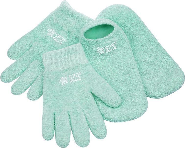 SPA Belle Комплект увлажняющие гелевые перчатки и носки с алоэSGSFY005GAКомплект: косметические перчатки и носки с гелевой пропиткой с маслами для экспресс-спа ухода за руками и ногами. Применение: очистить кожу, надеть изделия на 20-30 минут перед сном или во время отдыха. Допускается предварительное нанесение на кожу любых косметических средств, если это необходимо. Гель разогревается от тепла тела, масла проникают в кожу, увлажняют, тонизируют, заживляют микротрещины. Изделие можно подвергать ручной стирке в прохладной воде с мыльным раствором, сушка при комнатной температуре. Результат: шелковистая, гладкая и здоровая кожа рук и ног.