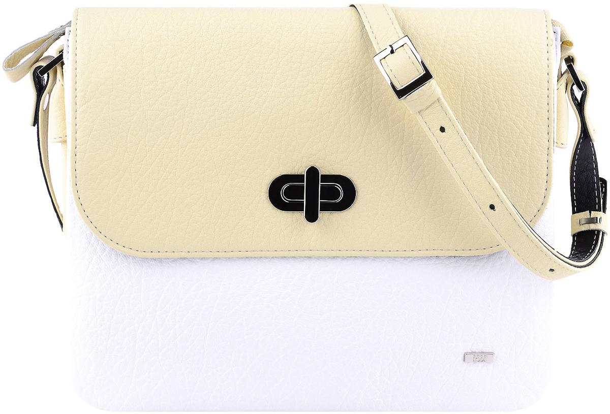 Сумка женская Esse Белла, цвет: желтый, белый, черныйBM8434-58AEНебольшая женская сумка Esse Викки изготовлена из натуральной кожи зернистой фактуры.Сумка состоит из трех отделений и закрывается на клапан с замком-вертушкой. На задней стенке врезной карман на молнии. Сумка оснащена плечевым ремнем, регулируемой длины.