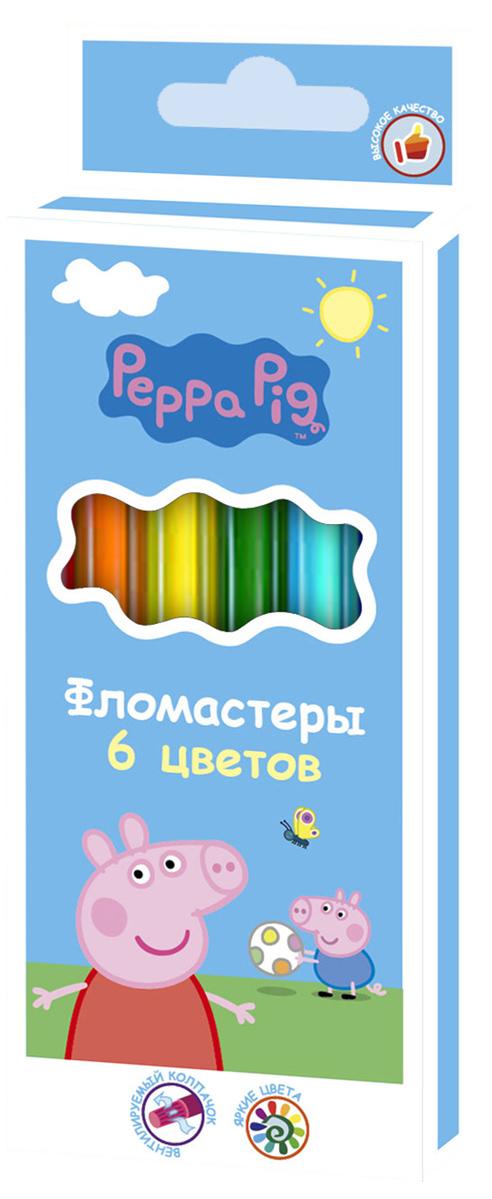 Peppa Pig Набор фломастеров Свинка Пеппа 6 цветов32052Фломастеры ТМ Свинка Пеппа, идеально подходящие для рисования и раскрашивания, помогут вашему ребенку создавать яркие картинки, а упаковка с любимыми героями будет долгое время радовать юного художника. В набор входит 6 разноцветных фломастеров с вентилируемыми колпачками, безопасными для детей. Диаметр корпуса: 0,8 см; длина: 13,5 см. Фломастеры изготовлены из материала, обеспечивающего прочность корпуса и препятствующего испарению чернил, благодаря этому они имеют гарантированно долгий срок службы: корпус не ломается, даже если согнуть фломастер пополам. Состав: ПВХ, пластик, чернила на водной основе.