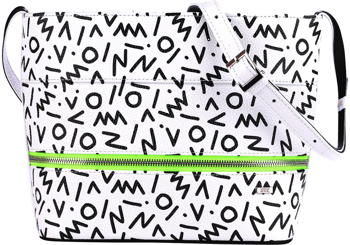 Сумка женская Esse Эбби, цвет: белый, черныйL39845800Женская сумка Esse Эбби жесткой конструкции изготовлена из натуральной кожи. Сумка закрывается на молнию. Внутри - одно отделение, карман для телефона и карман на молнии. Снаружи на задней стенке расположен карман на молнии. Длина ремня регулируется с помощью пряжки