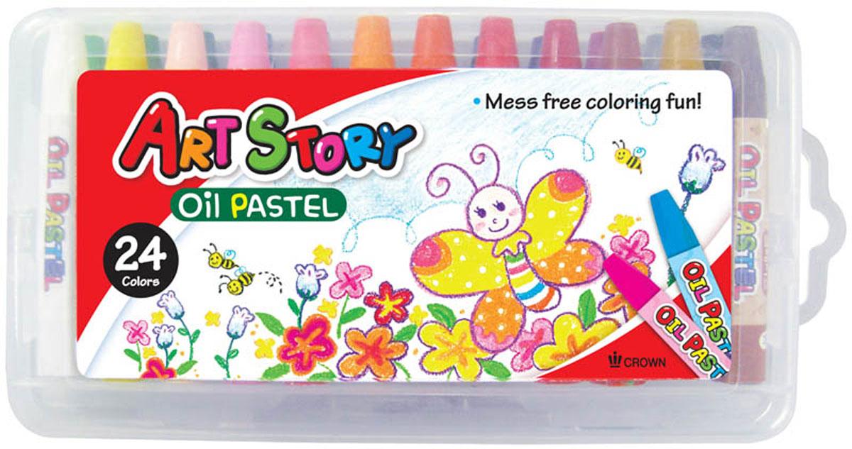 Crown Пастель масляная 24 цвета OP-2400SC13S041944Масляная пастель Crown подходит для использования на различных поверхностях. Пастель обладает мягкой текстурой, максимально насыщена пигментами, в результате чего имеет яркие цвета. Не крошится при рисовании, мягко ложится на бумагу.
