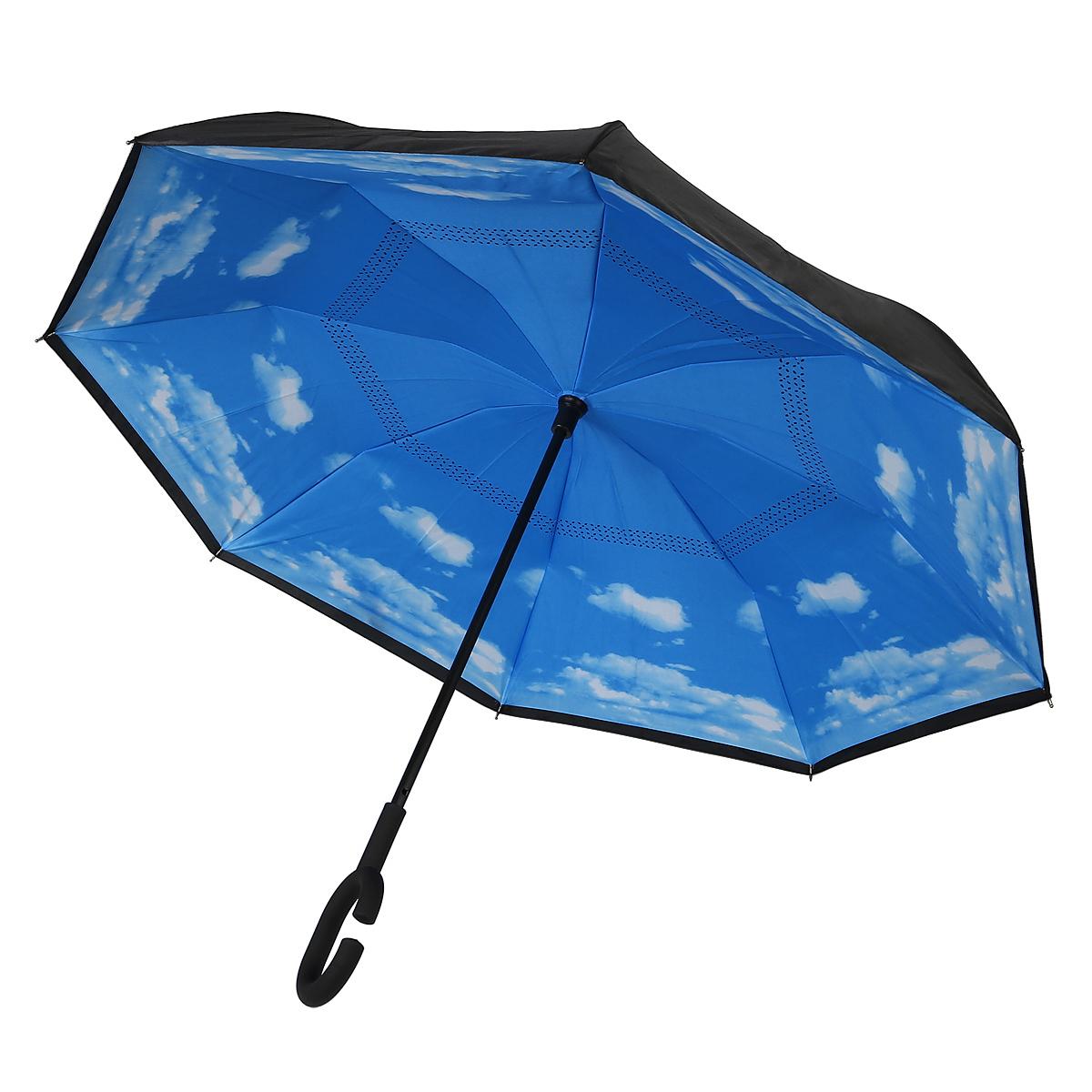 Зонт-трость Эврика Неваляшка. Небо, механика, цвет: голубой, черный. 97854SCPA390Оригинальный зонт-неваляшка надежно защитит вас от дождя. Он никогда не упадет, его удобно сложить и поставить в угол.Зонт складывается внутренней (сухой) стороной наружу, избавляя владельца от контакта с мокрой поверхностью. Приходя в незнакомое место у вас не будет неловкого момента от того, что некуда убрать мокрый зонт - вы сможете спокойно высушить его позже, закончив свои дела. Зонт очень удобен для автомобилистов: садясь в машину, Вы аккуратно закрываете зонт, не уронив ни одной капли воды в салоне.Удобная ручка позволяет высвободить обе руки - Вы спокойно можете пользоваться телефоном, а зонт будет надежно держатьсяна вашем запястье, защищая от капризов природы. Рисунок на внутренней части зонта поднимет вам настроение! С таким зонтом больше ничто не испортит ваших планов!