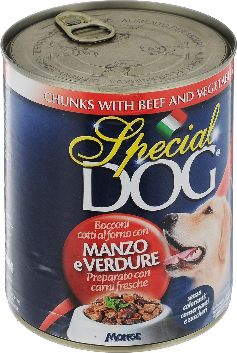 Консервы для собак Monge Special Dog, кусочки говядины с овощами, 820 гJBL4131100Консервы для собак Monge Special Dog - это полнорационный консервированный корм с кусочками говядины и овощами. Специально разработан для ежедневного кормления взрослых собак всех пород с нормальной физической активностью. Продукт не содержит консервантов и красителей. Для собак среднего размера рекомендуется приблизительно 800 г продукта в день. Данная дозировка может меняться в зависимости от породы, возраста собаки и уровня ее активности. Подавать корм комнатной температуры. Важно, чтобы у животного всегда был свободный доступ к свежей и чистой воде. Товар сертифицирован.