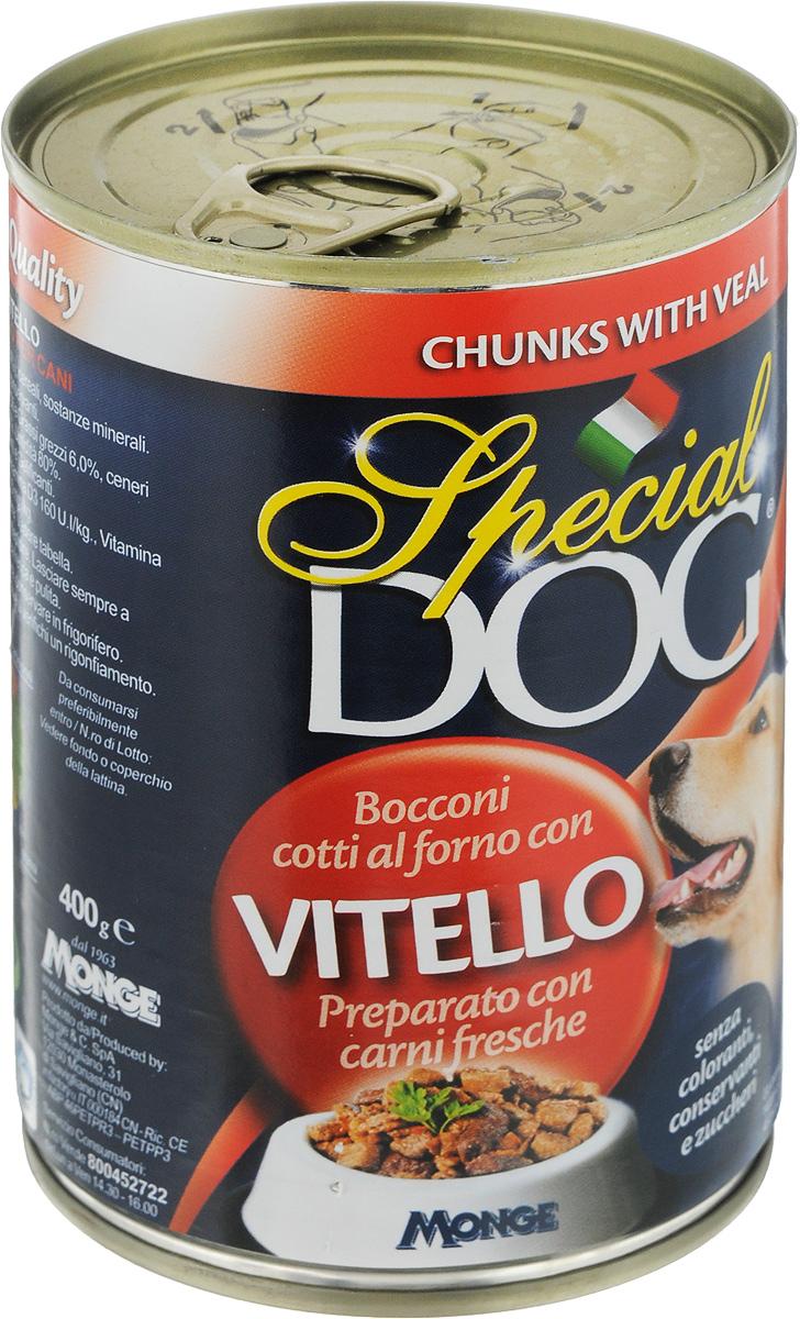 Консервы для собак Monge Special Dog, с кусочками телятины, 400 г6322Консервы для собак Monge Special Dog - это полнорационный консервированный корм с кусочками телятины. Специально разработан для ежедневного кормления взрослых собак всех пород с нормальной физической активностью. Продукт не содержит консервантов и красителей. Для собак среднего размера рекомендуется приблизительно 800 г продукта в день. Данная дозировка может меняться в зависимости от породы, возраста собаки и уровня ее активности. Подавать корм комнатной температуры. Важно, чтобы у животного всегда был свободный доступ к свежей и чистой воде. Товар сертифицирован.