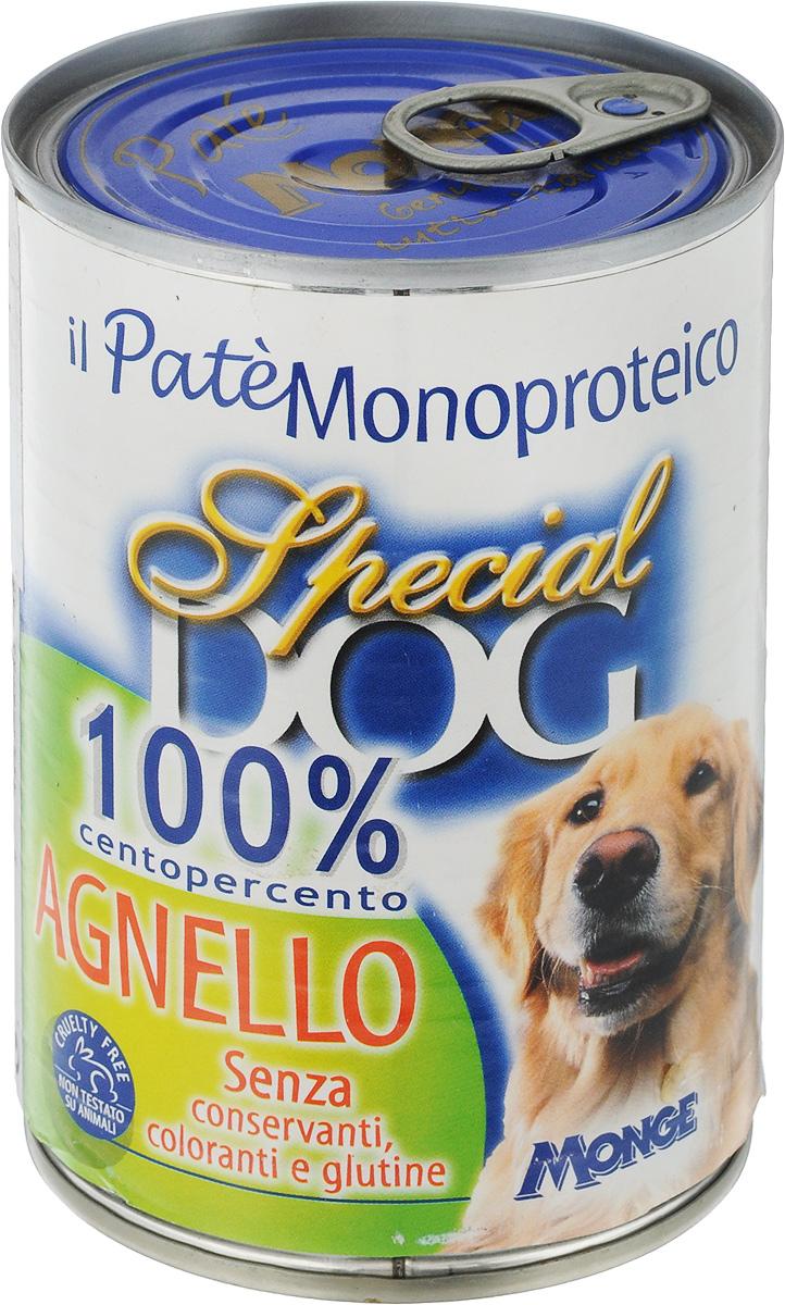 Консервы для собак Monge Special Dog Monoproteico, паштет из мяса ягненка, 400 г0120710Консервы для собак Monge Special Dog из серии Monoproteico - это монобелковый паштет на основе 100% мяса ягненка. Паштет содержит только один источник белка животного происхождения и является сбалансированным питанием, подходящим для ежедневного кормления собак. Не содержит красителей, консервантов, сахара, гидрогенизированных жиров и глютенов. Для собак мелких пород рекомендуется приблизительно 400 г продукта в день. Данная дозировка может меняться в зависимости от породы, возраста собаки и уровня ее активности. Подавать корм комнатной температуры. Важно, чтобы у животного всегда был свободный доступ к свежей и чистой воде. Товар сертифицирован.