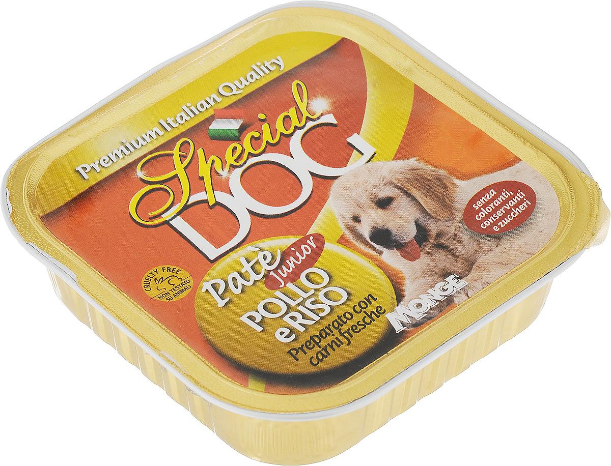 Консервы Monge Special Dog, для щенков, паштет курица с рисом, 150 г70008518Полнорационный консервированный корм на основе мяса курицы и риса для щенков в возрасте от 6 недель до 12 месяцев. Также рекомендуется во время беременности и лактации животного. Корм обогащен белками, витаминами и минералами, необходимыми для здорового роста и физической активности щенка.Сырой белок 10%, сырые масла и жиры 7,5%, сырая зола 2,1%, сырая клетчатка 0,4%, влажность 81%. Технологические добавки: загустители и желирующие вещества. Витамины и добавки на 1 кг: витамин А 2500МЕ, витамин D3 250 МЕ, витамин Е 5 мг.Мясо и мясные субпродукты (из которых курица 20%), злаки (рис 4,2%), минеральные вещества, витамины. Технологические добавки: загустители и желирующие вещества.Для собак мелких пород рекомендуется приблизительно 400г продукта в день. Данная дозировка может меняться в зависимости от породы, возраста собаки и уровня её активности. Подавать корм комнатной температуры. ВАЖНО, чтобы у животного всегда был свободный доступ к свежей и чистой воде.