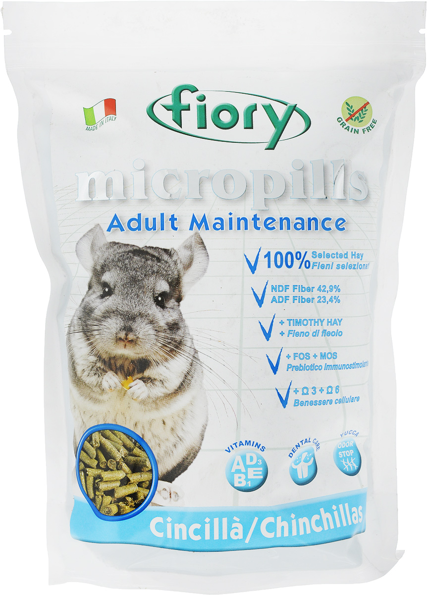 Корм сухой для шиншилл Fiory Micropills Chinchillas, 850 г0120710Корм сухой Fiory Micropills Chinchillas - это сбалансированный повседневный корм для взрослых шиншилл. Корм содержит сено второго укоса, витамины и хелатные минералы. Не содержит зерно. Кварц в составе позволяет стачивать зубы. NDF-клетчатка 42,9%, ADF-клетчатка 23,4% и 19,5% гемицеллюлозы - это полезная клетчатка, потребляемая шиншиллами в природе.Комплекс нутрицевтиков для правильного развития: дрожжи, инулин цикория, ФОС, продукты растительного происхождения, бета-глюканы, нуклеотиды, юкка Шидигера, масло огуречника (Омега-6) и жирные кислоты (Омега-3 DHA+EPA+DPA).Корм выполнен в виде гранул одинакового размера. Исключает пищевое селективное поведение. Упаковка с замком зип-лок надолго сохранит корм свежим. Товар сертифицирован.