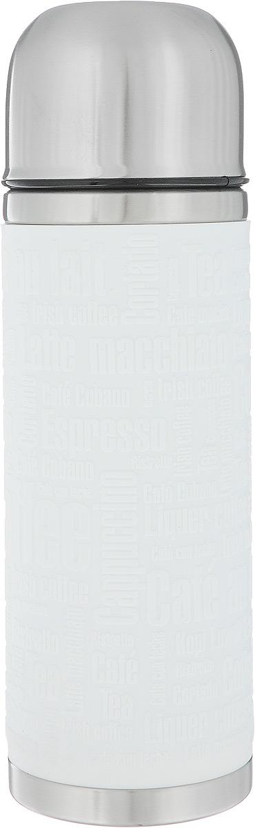 Термос Emsa Senator Sleeve, цвет: белый, стальной, 500 мл115510Термос Emsa Senator Sleeve имеет прочный корпус из нержавеющей стали. Внешние стенки дополнены силиконовой накладкой с рельефными надписями. Модель снабжена герметичной пластиковой пробкой, которая предотвращает выливание содержимого. Крышка с внутренним пластиковым покрытием удобно завинчивается и может послужить в качестве чашки для напитков. Термос сохраняет напиток горячим 12 часов, холодным - 24 часа. Диаметр горлышка: 4,5 см. Диаметр основания: 7,5 см. Высота термоса: 24 см.