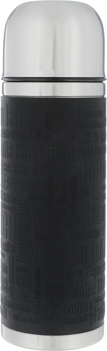 Термос Emsa Senator Sleeve, цвет: черный, стальной, 500 мл115610Термос Emsa Senator Sleeve имеет прочный корпус из нержавеющей стали. Внешние стенки дополнены силиконовой накладкой с рельефными надписями. Модель снабжена герметичной пластиковой пробкой, которая предотвращает выливание содержимого. Крышка с внутренним пластиковым покрытием удобно завинчивается и может послужить в качестве чашки для напитков. Термос сохраняет напиток горячим 12 часов, холодным - 24 часа. Диаметр горлышка: 4,5 см. Диаметр основания: 7,5 см. Высота термоса: 24 см.